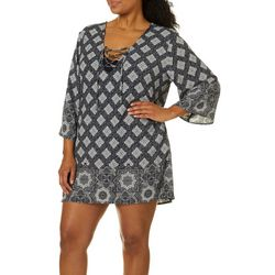 Pacific Beach Plus Riviera Lace Up Tunic Swim Cover-Up