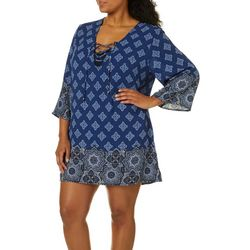 Pacific Beach Plus Riviera Lace Up Swim Cover-Up