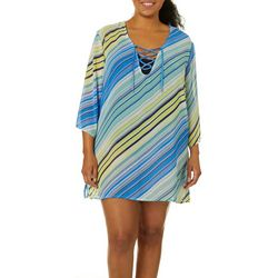 Pacific Beach Plus Lace Up Tunic Swim Cover-Up