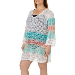 Pacific Beach Plus Heat Wave Crochet Swim Cover-Up