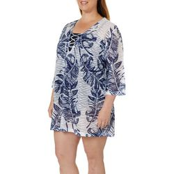 Pacific Beach Plus Leaf Print Wave Burnout Swim Cover-Up