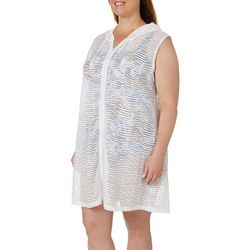 Pacific Beach Plus Burnout Print Hooded Swim Cover-Up