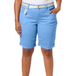 Gloria Vanderbilt Plus Mia Belted Bermuda Shorts