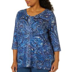 Gloria Vanderbilt Plus Teegan Paisley Floral Jeweled Top