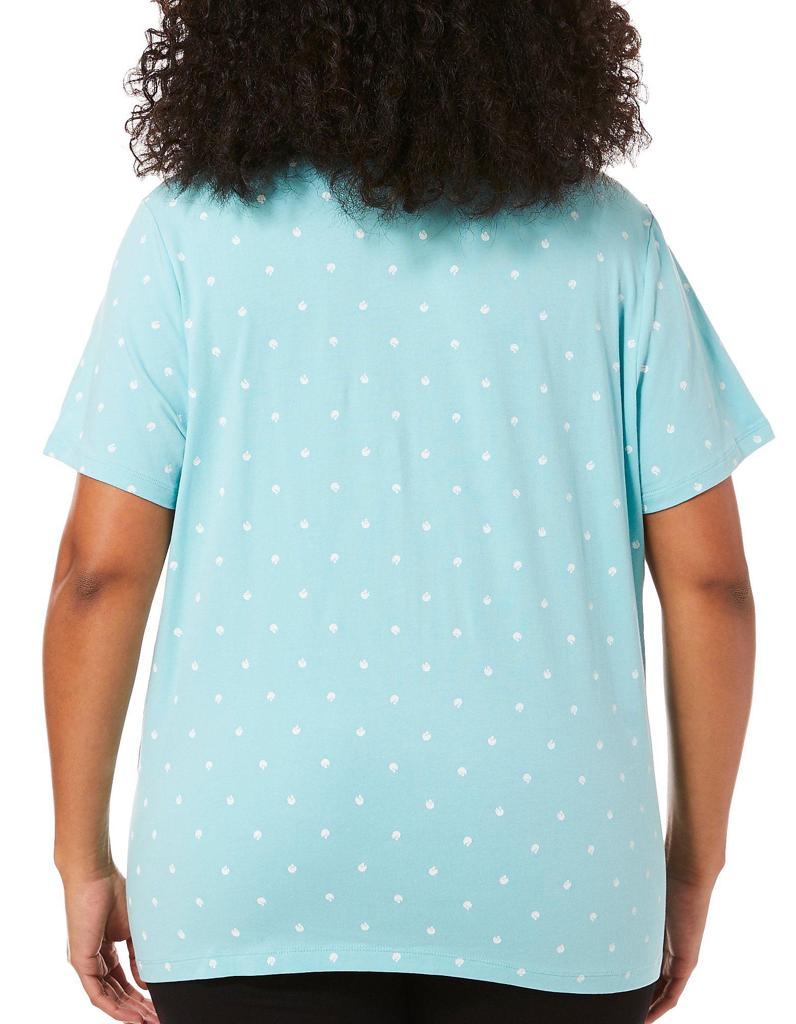edd09103680 Gloria Vanderbilt Plus Annie Swan Print Polo Shirt
