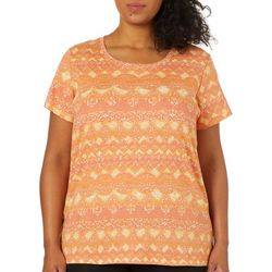 Gloria Vanderbilt Plus Margaret Striped Geo Print Top