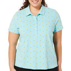 Gloria Vanderbilt Plus Annie Pineapple Print Polo Shirt