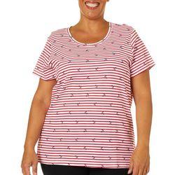 Gloria Vanderbilt Plus Striped Anchor Print Top