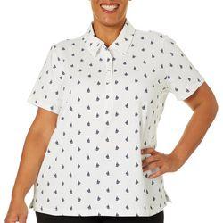 Gloria Vanderbilt Plus Annie Sailboat Print Polo Shirt