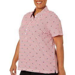 Gloria Vanderbilt Plus Annie Striped Anchor Polo Shirt