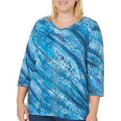 Gloria Vanderbilt Plus Teagan Embellished Stripe Print Top