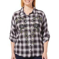 Gloria Vanderbilt Plus Yvette Embroidered Plaid Top