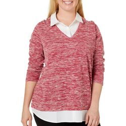 Gloria Vanderbilt Plus Bina Marbled Mock-Layer Sweater