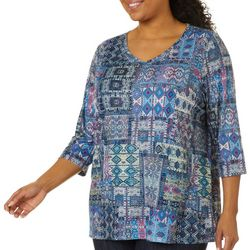 Gloria Vanderbilt Plus Teegan Patchwork Embellished Top
