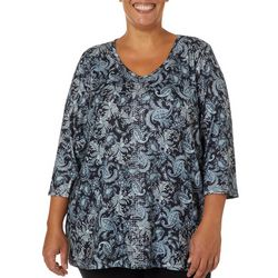 Gloria Vanderbilt Plus Teegan Paisley Pizzazz Jeweled Top