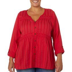 Gloria Vanderbilt Plus Lylah Crochet Detail Top