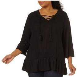 Gloria Vanderbilt Plus Cindy Solid Lace Up Neckline Top