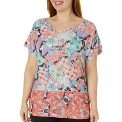 Gloria Vanderbilt Plus Opal Garden Floral Top