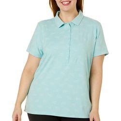 Gloria Vanderbilt Plus Annie Dolphin Print Polo Shirt
