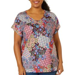 Gloria Vanderbilt Plus Opal Embellished Jeweled Top