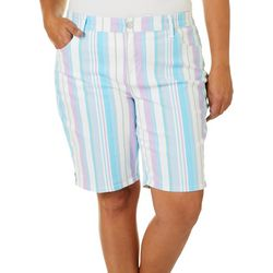 Gloria Vanderbilt Plus Springtime Stripe Bermuda Shorts
