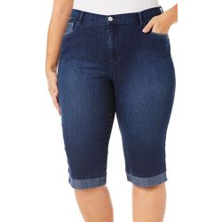 Gloria Vanderbilt Plus Amanda Skimmer Reverse Denim Shorts