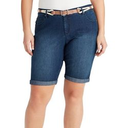 Gloria Vanderbilt Plus Joslyn Braided Belt Bermuda Shorts