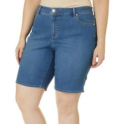 Gloria Vanderbilt Plus Midrise Demin Bermuda Shorts