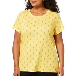 Gloria Vanderbilt Plus Maggie Pineapple Print Top