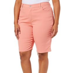 Gloria Vanderbilt Plus Amanda Solid Button Hem Shorts