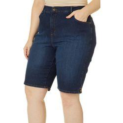 Gloria Vanderbilt Plus Amanda Button Hem Faded Shorts