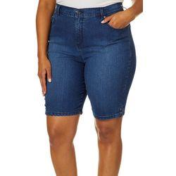 Gloria Vanderbilt Plus Amanda Button Hem Bermuda Shorts