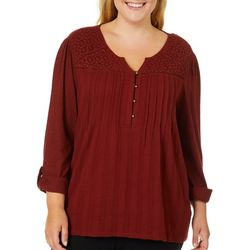 Gloria Vanderbilt Plus Zuri Crochet Yoke Roll Tab Top