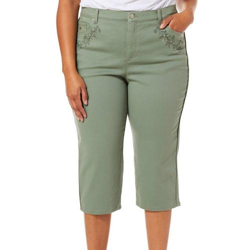 5c8a6494dcf205 Gloria Vanderbilt Plus Amanda Embroidered Denim Capris | Bealls Florida