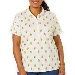 Gloria Vanderbilt Plus Annie Lemon Print Polo Shirt