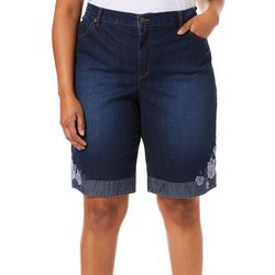Gloria Vanderbilt Plus Amanda Floral Hem Bermuda Shorts