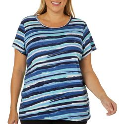 Gloria Vanderbilt Plus Margaret Painted Stripe Top