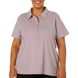 Gloria Vanderbilt Plus Annie Polka Dot Print Polo Shirt