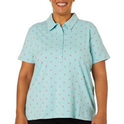 Gloria Vanderbilt Plus Annie Flamingo Print Polo Shirt