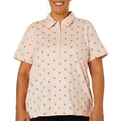 Gloria Vanderbilt Plus Annie Palm Tree Print Polo Shirt