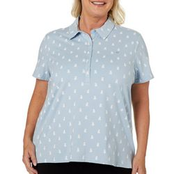 Gloria Vanderbilt Plus Annie Puppy Print Polo Shirt