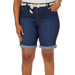 Gloria Vanderbilt Plus Joslyn Rope Belt Bermuda Shorts