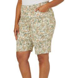 Gloria Vanderbilt Plus Amanda Petal Print Bermuda Shorts