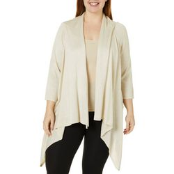 Nue Options Plus Solid Knit Foil Cardigan