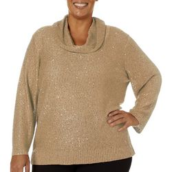 Nue Options Plus Solid Sequin Embellished Cowl Neck Top