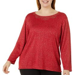 Nue Options Plus Embellished Glitz Round Neck Top