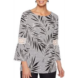 Ruby Road Favorites Plus Palm Leaf Stripe Bell Sleeve Top