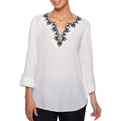 Ruby Road Favorites Plus Embroidered Gauze Tunic Top
