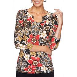 Ruby Road Favorites Plus Floral Design Horseshoe Neck Top