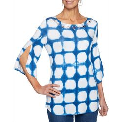 Ruby Road Favorites Plus Tie Dye Jewel Neck Spilt Sleeve Top